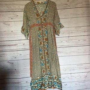 Floral Print Boho Maxi Dress Size Small, Med or Lg